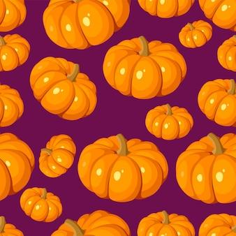 紫にオレンジ色のカボチャとシームレスなパターンをベクトル。