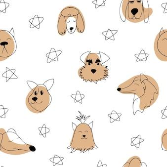애완 동물의 다른 품종 낙서 만화 그림의 개요 개 벡터 원활한 패턴