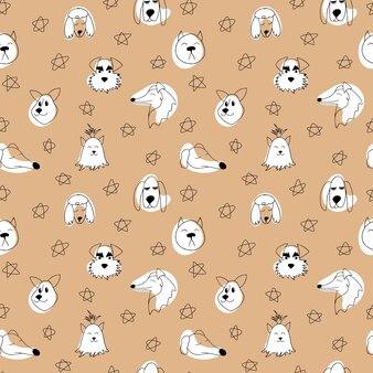 Бесшовный узор вектор с наброски собак разных пород каракули карикатура иллюстрации