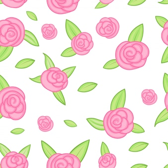 Vector seamless pattern with outline stylized roses. beautiful floral design