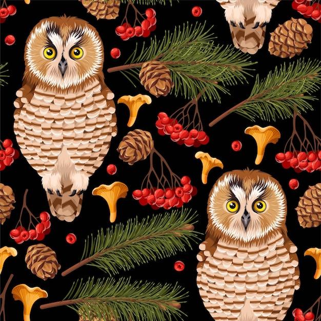フクロウと森の花とのシームレスなパターンをベクトルします。
