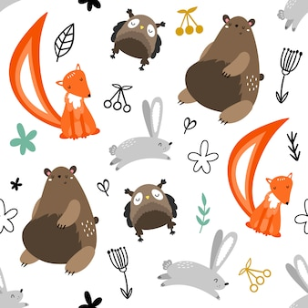 Vector seamless pattern with owls, bears, foxes, hares and plants.