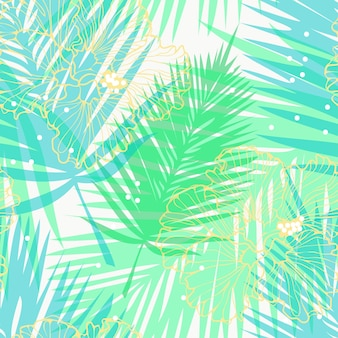 Vector seamless pattern with palm leaves and yellow hibiscuses tropical paradise pattern