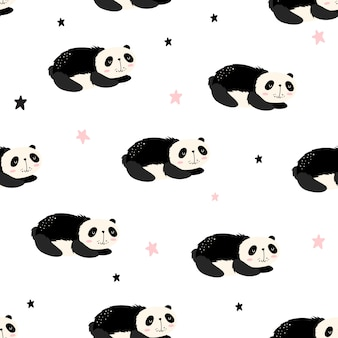 Vector seamless pattern with pandas