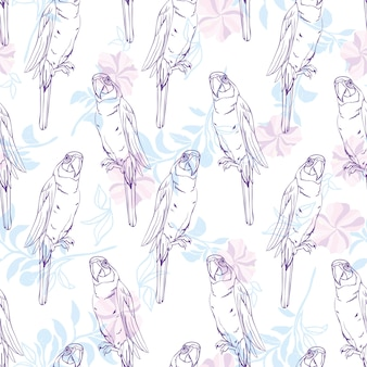 Vector seamless pattern with parrot