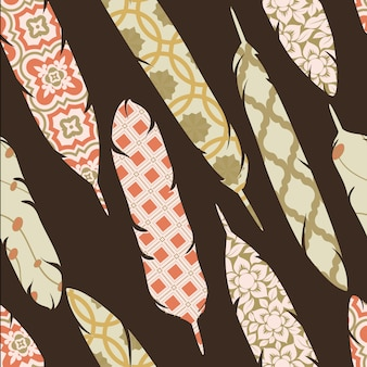 Vector seamless pattern with patch ornate colorful feathers