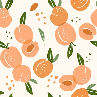 Vector seamless pattern with peaches