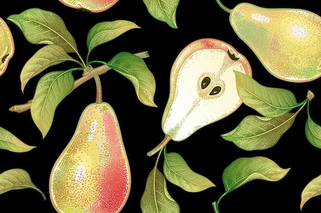 Вектор бесшовный образец с фруктами груши