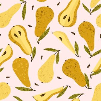 梨とシームレスなパターンベクトル