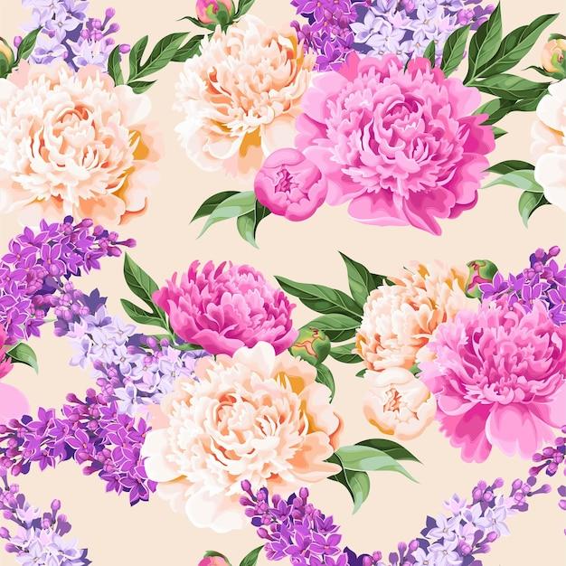 모란 꽃 벡터 원활한 패턴