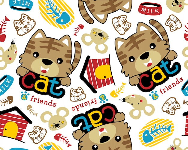 Vector seamless pattern with pets cartoon