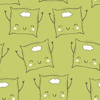 Vector seamless pattern with pillow. scandinavian motives. baby print. cartoon background.
