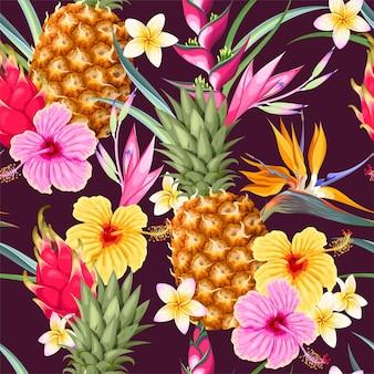 Бесшовный узор вектор с ананасами и тропическими цветами