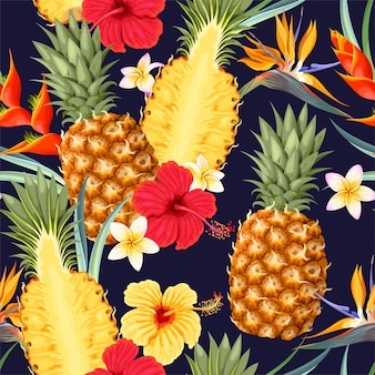 Vector seamless pattern with pineapples and tropical flowers