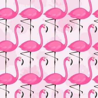 밝은 배경에 핑크 플라밍고와 벡터 원활한 패턴