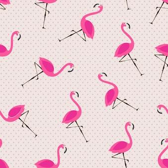 Бесшовный узор вектор с розовыми фламинго на фоне горошек