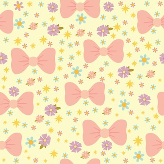Vector seamless pattern with pink manti and flowers, pastel colors, romantic texture for children