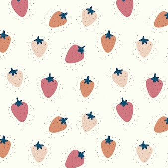 Vector seamless pattern with pink strawberries