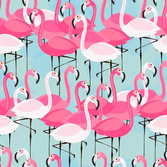 Vector seamless pattern with pink and white flamingos on blue background