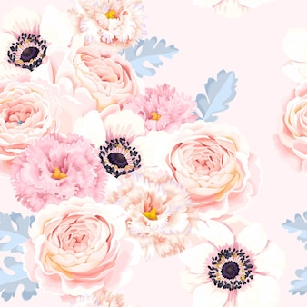 Vector seamless pattern with pink and white flower