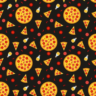 Vector seamless pattern with pizza. for fabric,  wrapping paper, cards and web illustration.