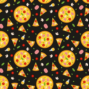Vector seamless pattern with pizza. for wallpapers, wrapping paper, cards and web illustration.