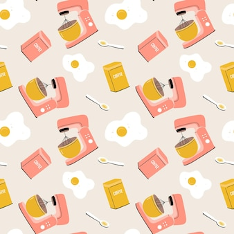 Vector seamless pattern with planetary mixer, eggs, can of coffee and spoon.  kitchen tools, utensils, kitchenware.  cartoon flat illustration for fabric, textile, wrapping paper, wallpaper