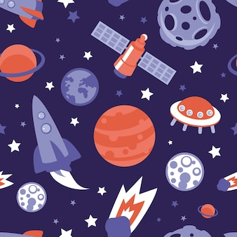 Vector seamless pattern with planets, ships and stars - background in vintage flat style
