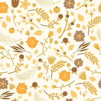 Vector seamless pattern with plants, berries, flowers. doodle elements.