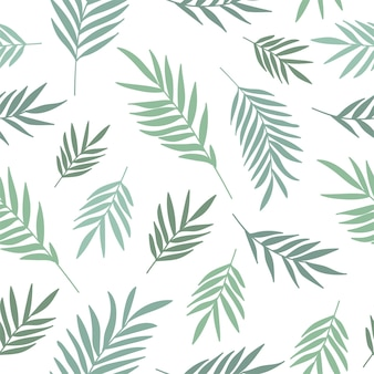 Vector seamless pattern with plants branches leaves