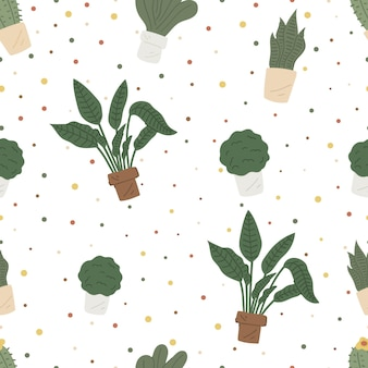 Бесшовный узор вектор с растениями