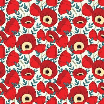 양 귀 비와 벡터 완벽 한 패턴입니다. 꽃 배경