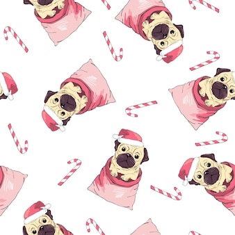 Vector seamless pattern with pug-dog in santa's hat and traces