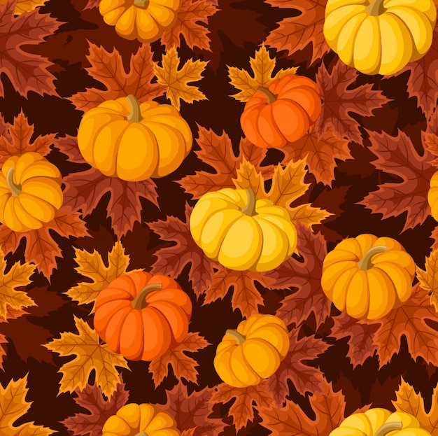 Vector seamless pattern with pumpkins and autumn maple leaves of various colors on a dark brown.