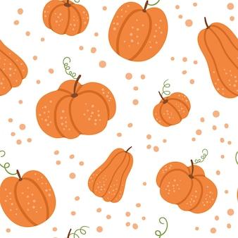 Vector seamless pattern with pumpkins. autumn vegetables digital paper. orange squash ornament