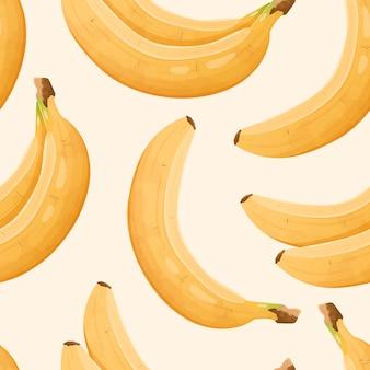 현실적인 바나나와 벡터 완벽 한 패턴입니다. 식용 건강한 달콤한 과일이 있는 귀여운 배경 또는 벽지.