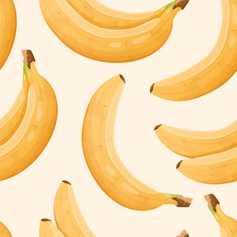 Vector seamless pattern with realistic bananas. cute background or wallpaper with edible healthy sweet fruits.
