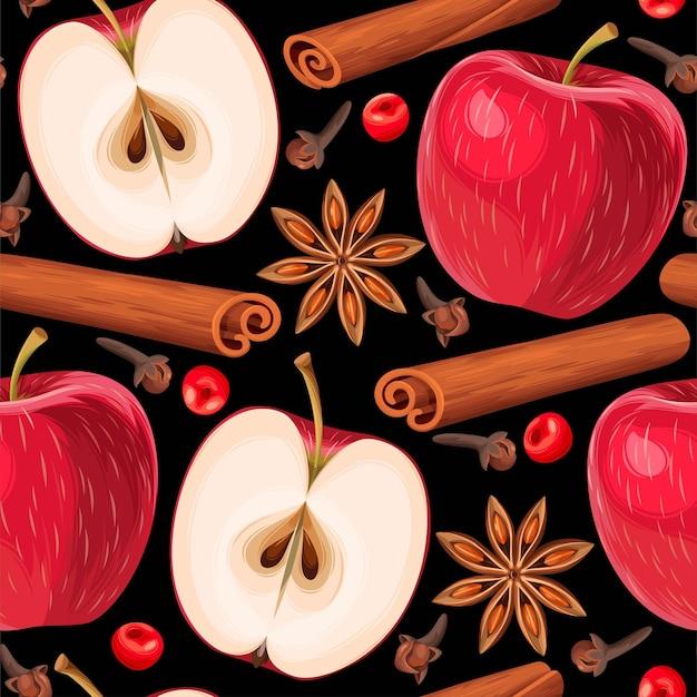 빨간 사과와 향신료 벡터 원활한 패턴