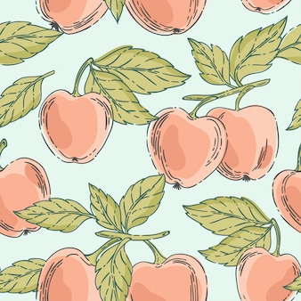 Vector seamless pattern with red apples