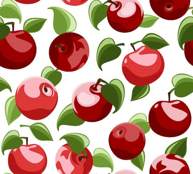 Вектор бесшовные модели с красными спелыми яблоками и зелеными листьями