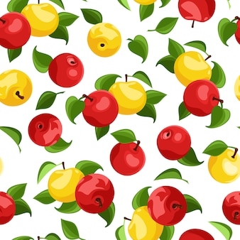 Vector seamless pattern with red and yellow apples and green leaves on white.