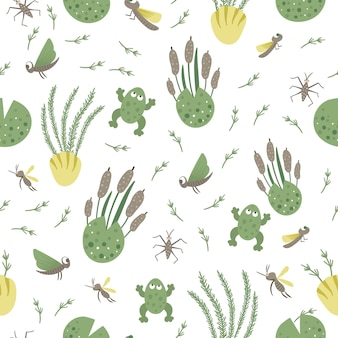Vector seamless pattern with river or marsh elements repeat background with frog