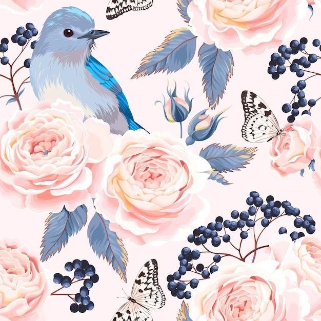 장미 엘더베리와 새 벡터 원활한 패턴