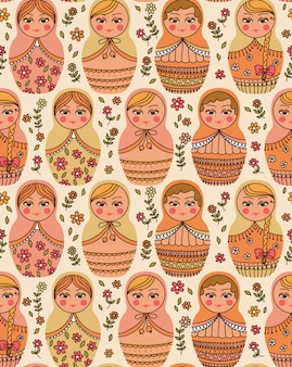 Vector seamless pattern with russian doll - matrioshka