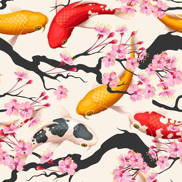 Vector seamless pattern with sakura branches and koi fish