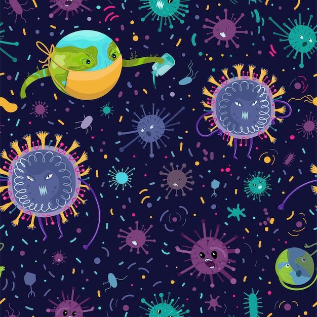 Бесшовный узор вектор со сценой борьбы земли против коронавируса
