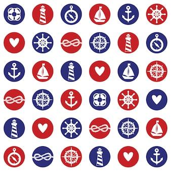 바다 요소와 벡터 원활한 패턴: 등대, 배, 앵커, 매듭. 배경 화면, 웹 페이지 배경에 사용할 수 있습니다.
