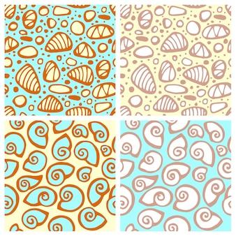 Бесшовный узор вектор с морскими камнями и ракушками текстура для ткани в пастельных тонах