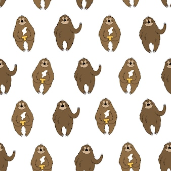 Vector seamless pattern with sloths
