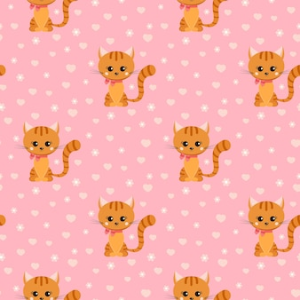 Vector seamless pattern with smiling little ginger striped cat with pink bow on its neck.